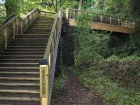 歩道橋を渡って右方山中へ