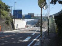歩道橋を渡って左側道へ