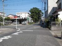 先が東海道並木の様だが左折